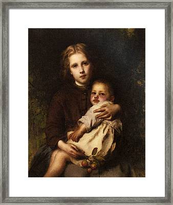 Piot Adolphe Sisterly Love Framed Print by Etienne Adolphe Piot