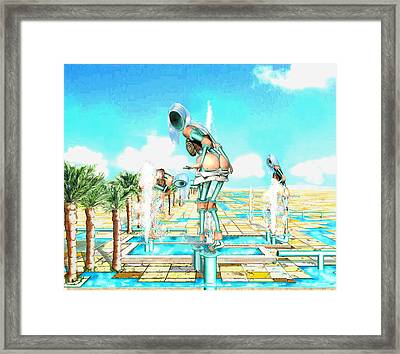 Pipe Human Figures Creating On Oasis Number One Framed Print by Leo Malboeuf