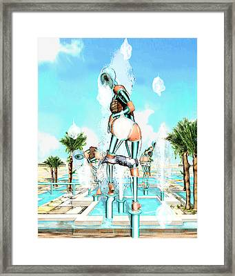 Pipe Human Figures Creating On Oasis Number Two Framed Print by Leo Malboeuf
