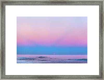 Pipe Moonset Framed Print by Sean Davey