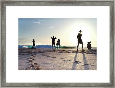 Pipe Onlookers Framed Print by Sean Davey