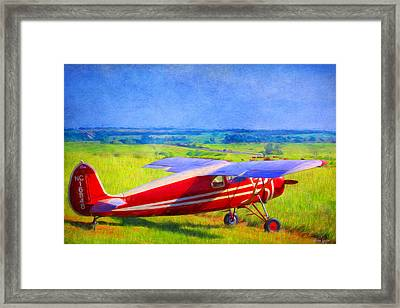 Piper Cub Airplane In Kansas Prairie Framed Print