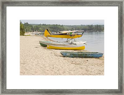 Piper Super Cub Floatplane Near Pond In Maine Canvas Poster Print Framed Print