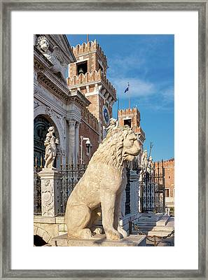 Framed Print featuring the photograph Piraeus Lion by Fabrizio Troiani