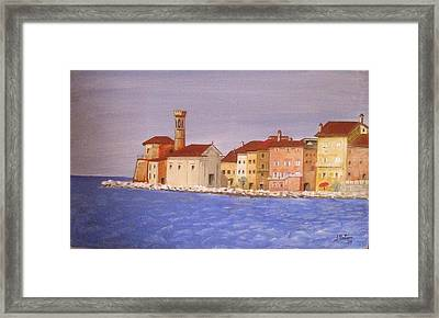 Piran The Lighthouse Framed Print by Anthony Meton
