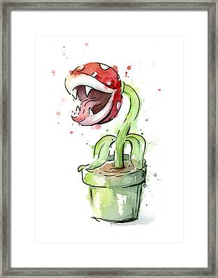 Piranha Plant Watercolor Framed Print by Olga Shvartsur