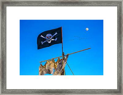 Pirate Flag And Moon Framed Print
