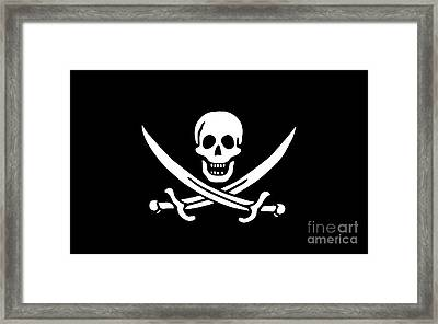Pirate Flag Jolly Roger Of Calico Jack Rackham Tee Framed Print by Edward Fielding
