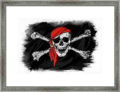 Pirate Flag Framed Print by Les Cunliffe