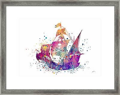 Pirate Ship 2 Watercolor Framed Print by Svetla Tancheva