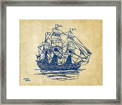 Pirate Ship Artwork - Vintage Framed Print by Nikki Marie Smith