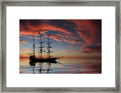 Pirate Ship At Sunset Framed Print