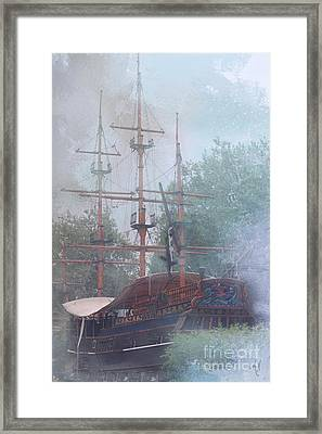 Pirate Ship Hiding In Cove Framed Print
