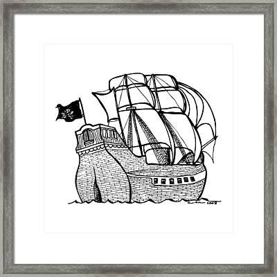 Pirate Ship Framed Print by Karl Addison