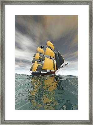 Pirate Ship On The High Seas Framed Print by Carol and Mike Werner