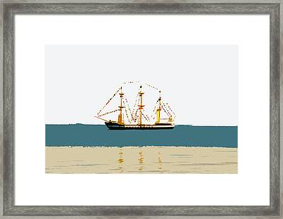 Pirate Ship On The Horizon Framed Print by David Lee Thompson
