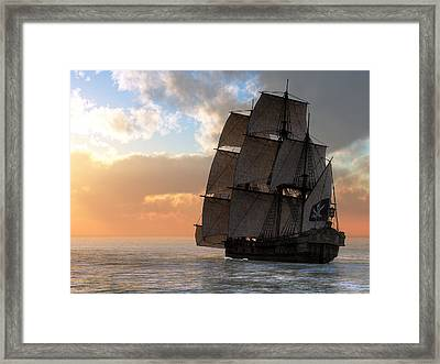 Pirate Ship Sunset Framed Print
