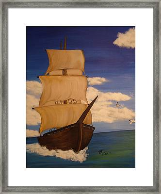Pirate Ship With Gulls Framed Print by Vickie Roche