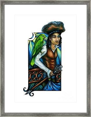 Pirate With Parrot Art Framed Print
