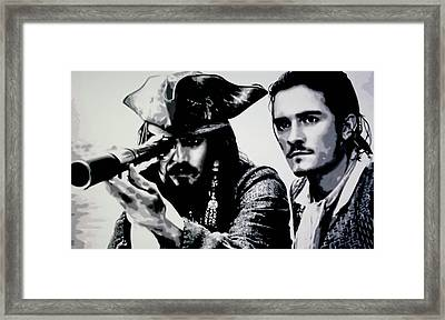 Pirates Of The Carribean Framed Print by Luis Ludzska