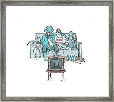 Pirates Sitting On Sofa And Watching Television Set  Framed Print