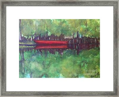 Pirogue On Bayou Lafourche Framed Print