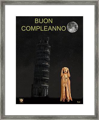 Pisa The Scream World Tour Happy Birthday Italian Framed Print by Eric Kempson