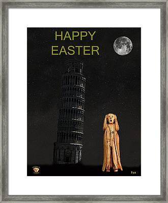 Pisa The Scream World Tour Happy Easter Framed Print by Eric Kempson