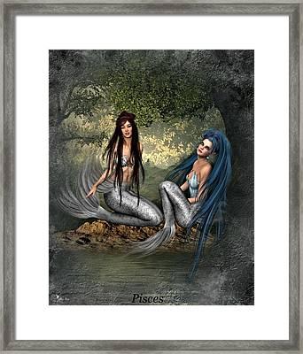 Zodiac Pisces Framed Print by Ali Oppy