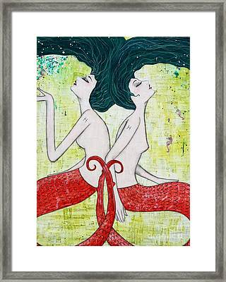 Pisces Mermaids Framed Print by Natalie Briney
