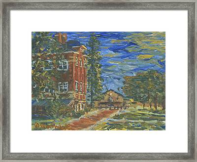 Framed Print featuring the painting Piskor Hall On An August Evening by Denny Morreale