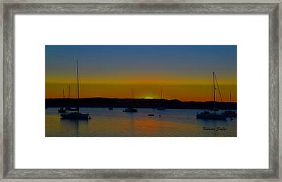 Morro Bay California Sunset Abstract Framed Print by Barbara Snyder