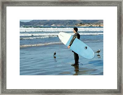 Pismo Beach Surfer Framed Print by Art Block Collections