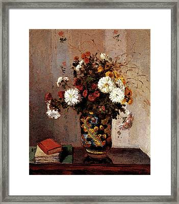 Pissarro Camille Chrysanthemums In A Chinese Vase Framed Print by Camille Pissarro