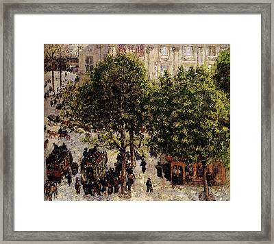 Pissarro Camille Place Du Theatre Francais Framed Print by Camille Pissarro