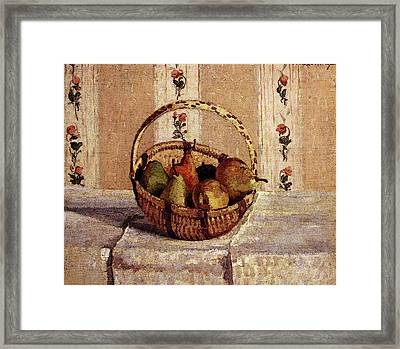 Pissarro Camille Still Life Apples And Pears In A Round Basket Framed Print by Camille Pissarro