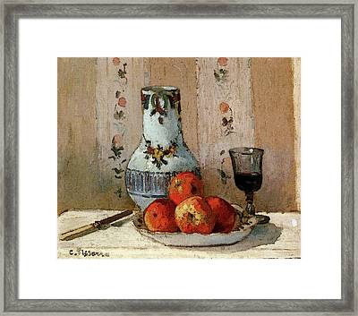 Pissarro Camille Still Life With Apples And Pitcher Framed Print by Camille Pissarro