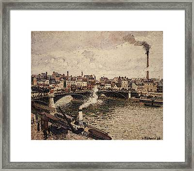 Pissarro Morning An Overcast Day Rouen  Framed Print
