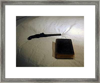 Pistol And Bible Framed Print