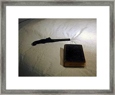 Pistol And Bible Framed Print by Douglas Barnett