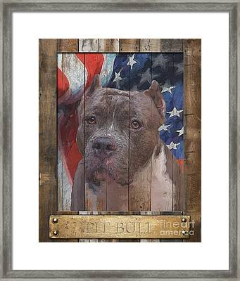 Pit Bull Flag Poster Framed Print by Tim Wemple