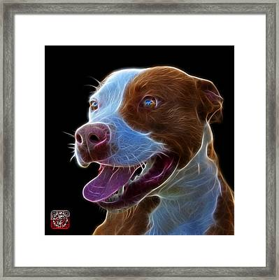 Framed Print featuring the mixed media Pit Bull Fractal Pop Art - 7773 - F - Bb by James Ahn