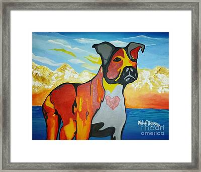 Pit Bull Love Framed Print by Renate Dubose