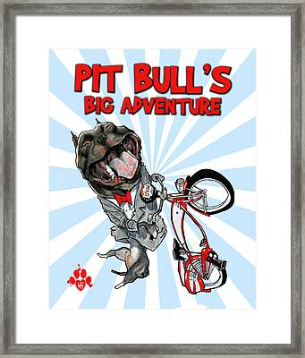 Pit Bull's Big Adventure Caricature Framed Print