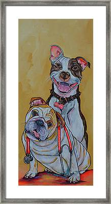 Framed Print featuring the painting Pitbull And Bulldog by Patti Schermerhorn