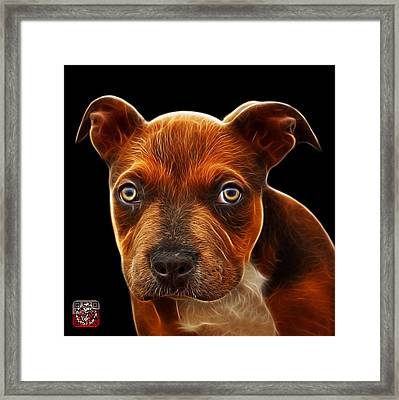 Pitbull Puppy Pop Art - 7085 Bb Framed Print by James Ahn