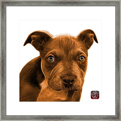 Framed Print featuring the painting Pitbull Puppy Pop Art - 7085 Wb by James Ahn