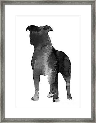 Pitbull Silhouette Minimalist Painting Framed Print