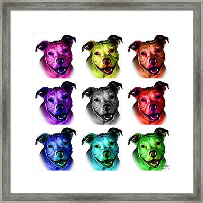 Pitbull Terrier - F - S - Wb - Mosaic Framed Print by James Ahn