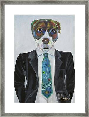 Pitbull With Rap Tie Framed Print